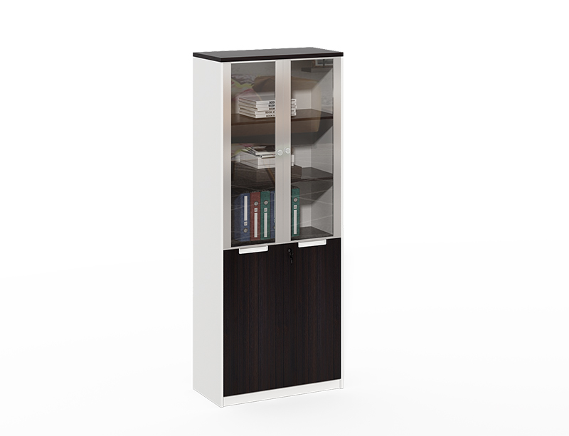Wood lateral assembled Aluminum frame with 2 glass door file cabinet CF-DF0820E