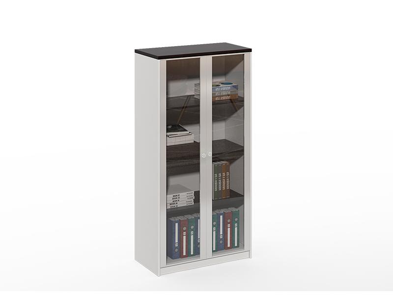 China Factory wholesale Aluminum frame 2 glass door black lateral file cabinet