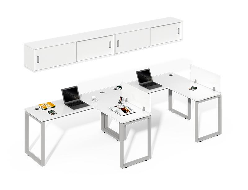 2 Person Corner Workstation with Storage Credenza CF-LY2814L