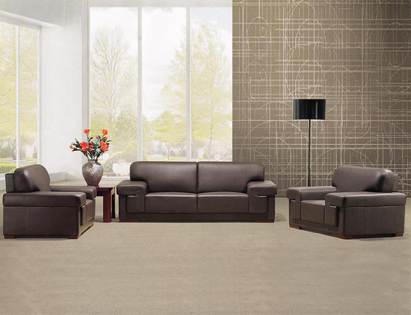 Commercial Office furniture Luxury Leather office waiting sofa images CD-83602