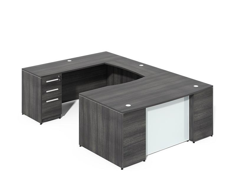 U-Shaped Desk with Glass modesty