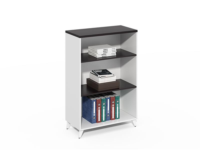 China Manufacturer 3 layer low wide small black bookshelf