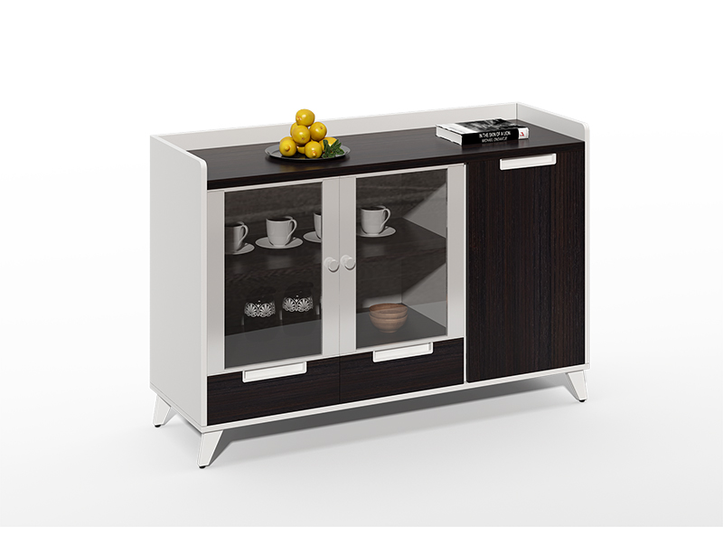 Cheap Excellent Quality wood frame 2 glass door tea and coffee cabinet