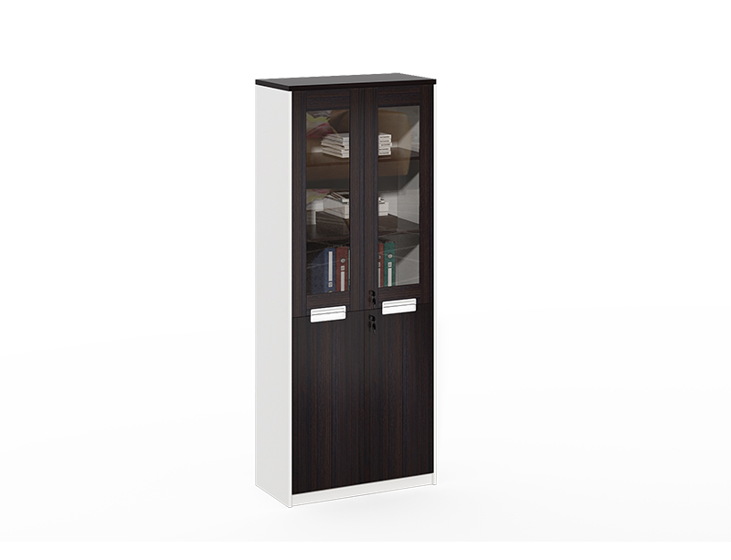 China Gold Manufacturer Discount Wooden frame with 2 glass doors black office cabinet CF-CLF0820B