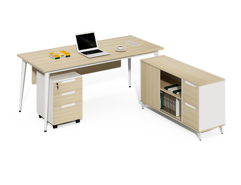 China luxury office furniture factory 2m L type office desk and bookshelf CF-BKE1680B