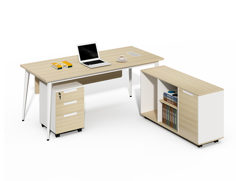 office desk and bookshelf