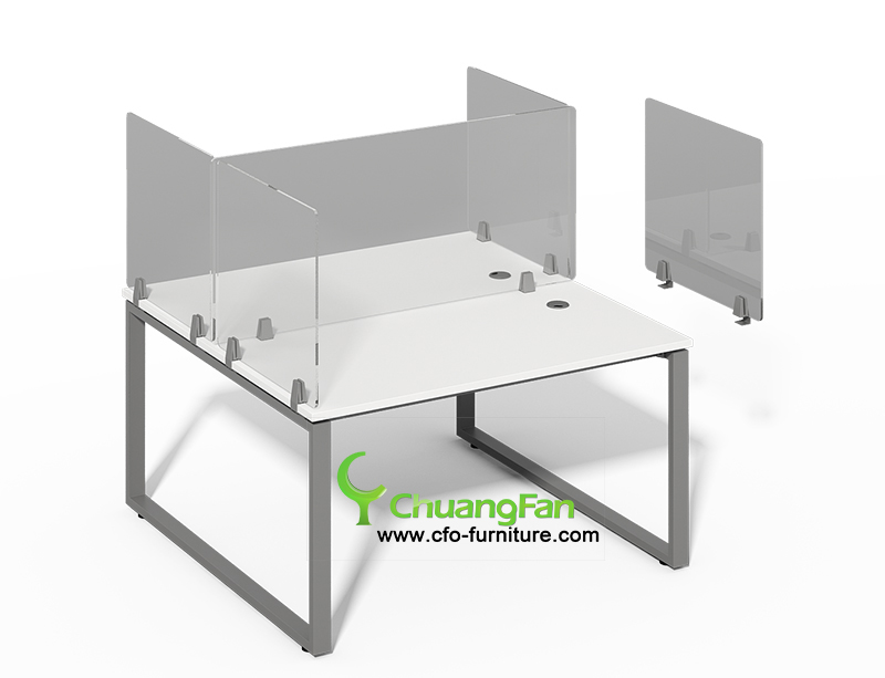 Custom sized cough and sneeze protective barrier 2 Person workstation desk with acrylic screen