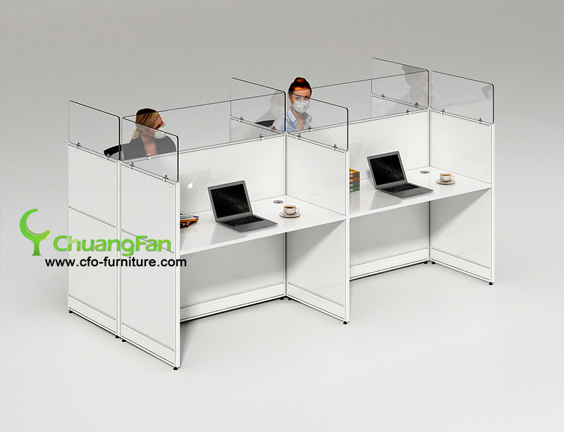 Custom sized cough and sneeze protective barrier 4 Person workstation desk