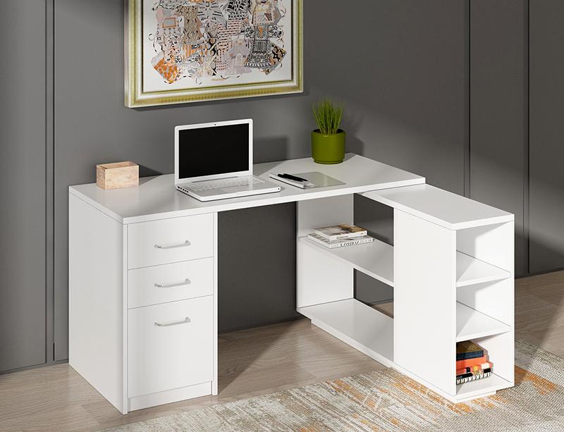 Office Furniture Factory Square Type metal frame white desktop home computer desks