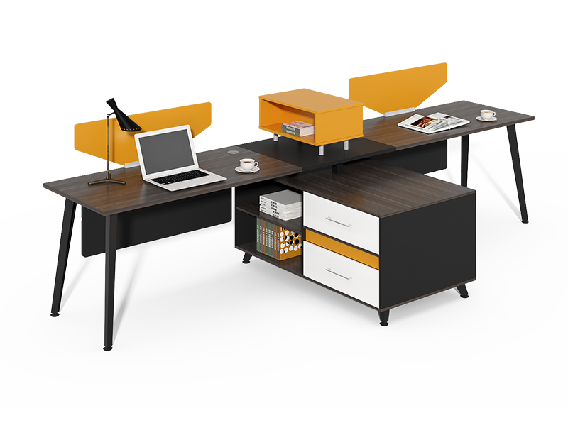 Commercial China Office Furniture Single Side Two Person Desk Office Workstation With Storage CF-HM2406