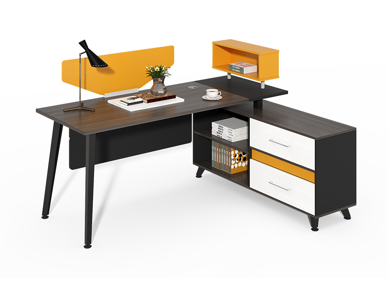 Modern design l shaped executive office table with Screen CF-HM1214