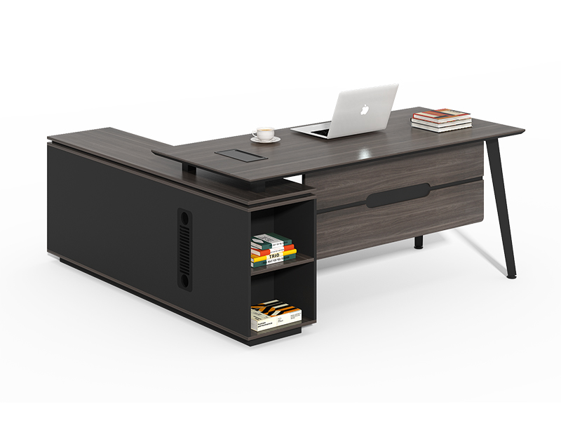 China Office Furniture Factory Modern Black L Shaped Executive Desk For Sale CF-HM1618C