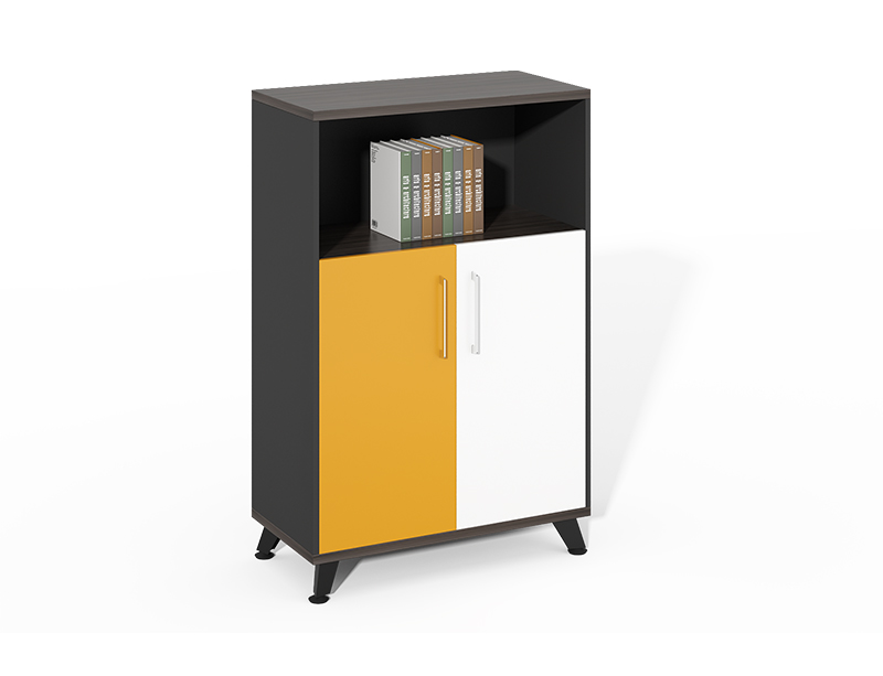 wood file cabinet with shelves