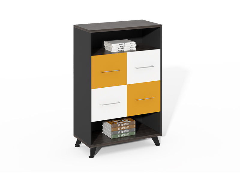 Competitive Price wood 2 Openshelf+ 4 drawer filing cabinets for sale CF-HMF0812D