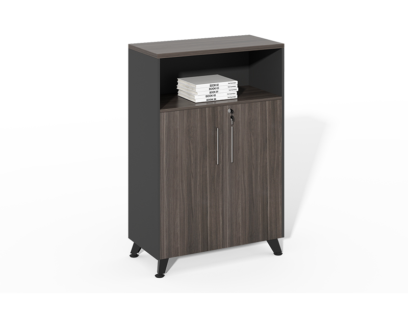 Wholesale gray wood 1 openshelf + 2 swing doors storage cabinet CF-HMF0812F