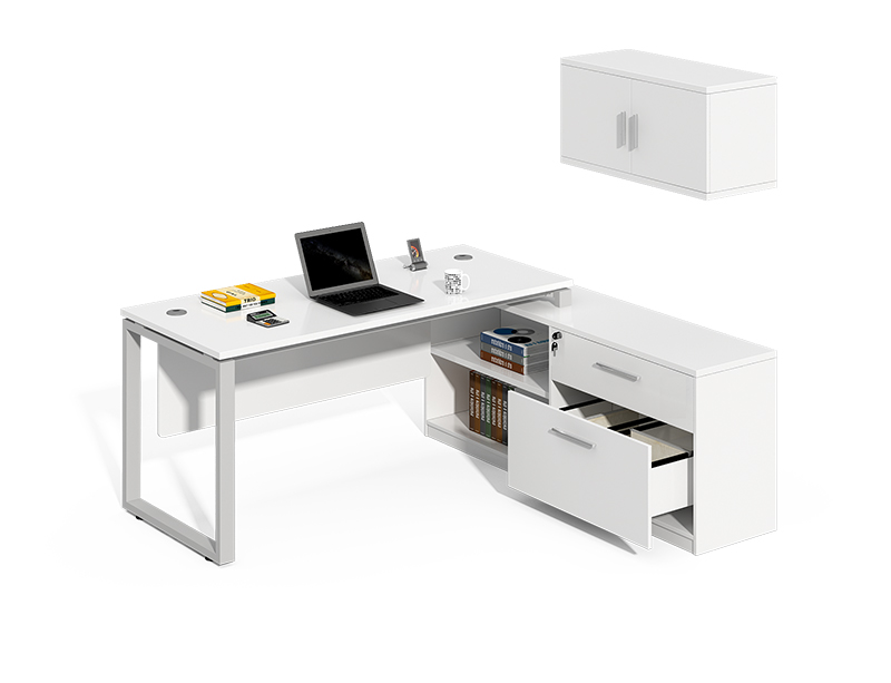 China Manufacturer white furniture big boss executive office desk with hanging cabinet CF-LY1616W