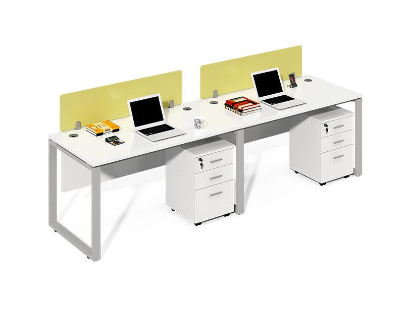 Grey Frame One Sided 2 Person Workstation with Screens CF-LY2406W