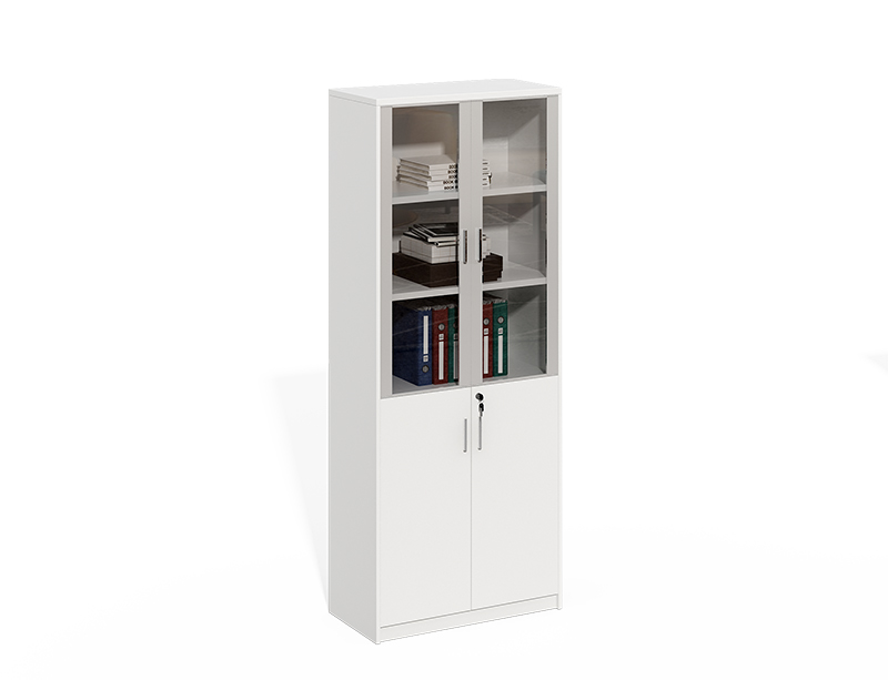 White Aluminum Frame With Glass Door File Cabinet With Lock CF-LY0820E